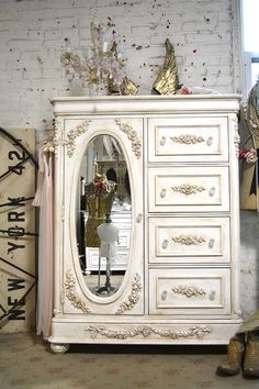 Painted Cottage Chic Shabby Romantic French Dresser / Armoire / Lingerie Chest…