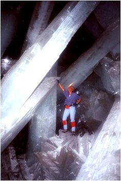 The Naica Mine, Cave of Crystals, Mexico.  These caverns found in a mine in Chihuahua Mexico  are home to some of the largest crystals ever discovered and are an impressive sight. The crystals are made mainly of Gypsum, and under these extremely rare conditions were allowed to grow unimpeded.
