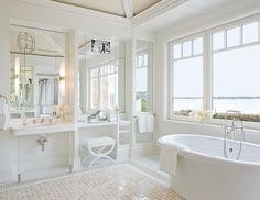 Bath with a view of the Hamptons