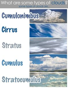 Classical Conversations: Cycle 1 Week Types of Clouds Science Fair, Science Lessons, Teaching Science, Science For Kids, Science Projects, Earth And Space Science, Earth From Space, Science And Nature, What Is Water Cycle