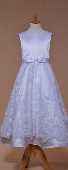 White lace girl's communion dresses tea length holy first communion dress
