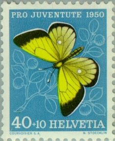 Znaczek: Moorland Clouded Yellow (Colias palaeno) (Szwajcaria) (Pro Juventute: Insects, Theophil Sprecher v. Bernegg) Mi:CH 554,Sn:CH B200,Yt:CH 506,AFA:CH 556,Zum:CH J137