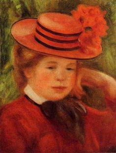 Young Girl in a Red Hat - Pierre-Auguste Renoir