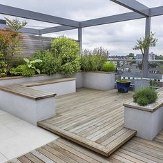 1- The terrace has a side garden and sitting area. Balustrades are found on the side.