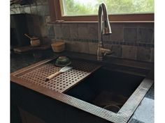 "Starting at $2,695 - This Soluna copper farmhouse workstation sink comes with a number of handy accessories for food prep, washing pots and pans, carving meats and so much more. The design and accessories allows for ""multitasking"" and frees up counterspace. The anti-microbial properties, corrosion resistance and the visual appeal of copper make it an excellent choice. Kitchen Inspirations, Compact Kitchen, House Design, Workstation, Farmhouse Sink, Copper Kitchen, Pots And Pans, Farmhouse Kitchen, Copper Farmhouse Sinks"