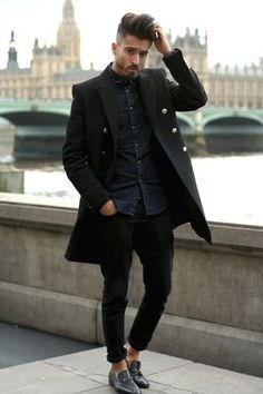 Men's Black Leather Loafers, Black Jeans, Black Overcoat, and Navy Denim Shirt