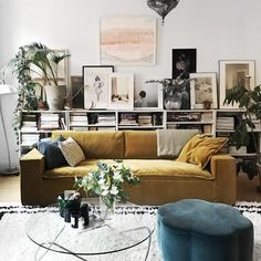 Pretty Yellow Sofa Design Ideas For Living Room Decor Living Room Sofa, Interior Design Living Room, Living Room Designs, Living Room Decor, Living Room Yellow, Yellow Sofa Design, Yellow Couch, Yellow Ottoman, Small Room Decor