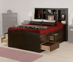 Largest Beds collection: This Espresso Tall Double Platform Storage Bed with Tall Bookcase Headboard - Prepac Furniture is practically designed, functional, attractive storage bed that get you pleasur Small Bedroom Storage, Bed Storage, Storage Headboard, White Headboard, Small Bedrooms, Under Bed Drawers, Bookcase Headboard, Bedroom Sets, Yurts