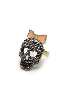 Skull and Bow Ring