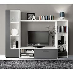 Meuble Tv SKIN Meuble TV mural 235cm avec éclairage LED - Dé ...