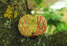 Unique & original brooch Golden Apple, OOAK textile jewelry, luxury metallic thread embroidered brooch, gold, red and orange patterns - pinned by pin4etsy.com