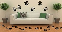 Feet and Hand Print Decals -- Set of 18 -- $32 -- from Dezignwithaz on Etsy