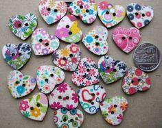 10 x Wooden Heart Buttons