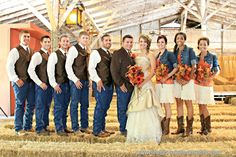 Country wedding. I love the idea of denim jackets for the girls. Don't like the denim on the guys. Thinking more grey pants or darker wash denim.