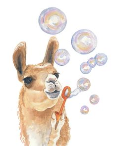 Watercolor PRINT - Llama Watercolor, Bubble Blowing, Nursery Art, 11x14 Painting Print