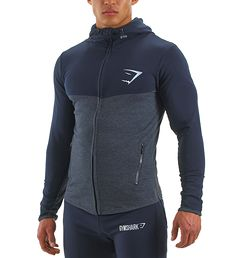 GymShark Fit Hooded Top - Navy Blue/Graphite - Hoodies - Mens