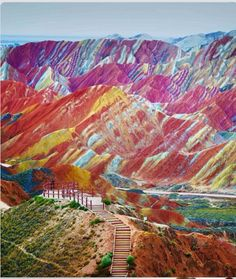 Rainbow Mountains, China. ️•.¸¸✿♥✿´¯`*•.¸¸✿♥✿´¯`*