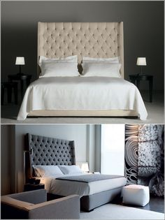 Usona Home This super modern bed has a upholstered design with a tall headboard. It is available in two colour options first being beige and the second being gray.