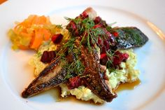 Fried mackerel, appel and beet root , cauliflower mash and pickled carrots