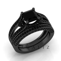 Designer 2.00Ct Princess Cut black diamond solitaire 14k Gold wedding engagement anniversary ring-very beautiful shining jewelry by PurpleFashion on Etsy https://www.etsy.com/listing/215042072/designer-200ct-princess-cut-black