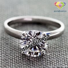 1.10 CT SOLITAIRE RING ENGAGEMENT ROUND CUT SOLID 14K WHITE GOLD PROMISE #aonebianco #SolitaireEngagementRing