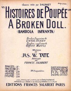 JAS. W. TATE - A BROKEN DOLL - HISTOIRES DE POUPÉE - 1916 - ORIG. MUSIKNOTE