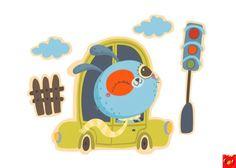 Newborn toddler room deco poster car rabbit by MrFoxAndFriends, €13.00