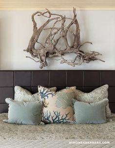 Pale turquoise velvet & coral pillows - coastal bedroom