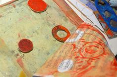 Gelli Plate printing in Composition Notebook