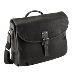 A handsome buckle secures the top flap of this Bugatti messenger bag to keep your valuables safe. Crafted with high-quality black Vaquetta leather, this fashion-forward bag can easily accommodate a 15-inch laptop in an interior pocket.