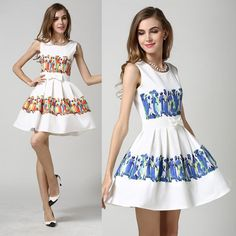 Women Summer Ruffles Dresses People Print Party Dresses Sleeveless Design Bow Slim European Fashion Casual Dress Online with $21.2/Piece on Smartmart's Store | DHgate.com