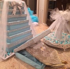Afghan Engagement Tiffany blue Arrangement Wedding Gift Wrapping, Wedding Gift Boxes, Wedding Gifts, Engagement Gift Baskets, Engagement Gifts, Wedding Prep, Wedding Events, Weddings, Indian Wedding Decorations