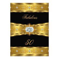 Fabulous 50 Elegant Diamond Gem Gold Black Party Personalized Announcements