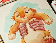 """Check out new work on my @Behance portfolio: """"The lion King - Simba - watercolor"""" http://on.be.net/1gEL2LS"""
