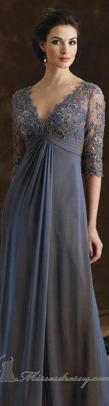 V-Neck Formal Gown by Mon Cheri Montage - Herren- und Damenmode - Kleidung Mob Dresses, Trendy Dresses, Nice Dresses, Mother Of Groom Dresses, Mothers Dresses, Bride Gowns, Gowns Of Elegance, Formal Gowns, Dress Formal