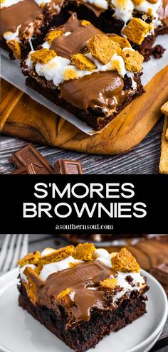 All the flavors of your favorite campfire S'mores turned into brownies, right in your own kitchen! S'mores Brownies are super easy to make with a box brownie mix and then amped up with toasted marshmallows, crispy graham crackers, and chocolate. This rich, gooey, summertime treat can now be enjoyed any time of the year! Best Dessert Recipes, Easy Desserts, Delicious Desserts, Yummy Food, Chocolate Mint Brownies, Chocolate Desserts, Brownie Recipes, Cookie Recipes, Brownie Desserts