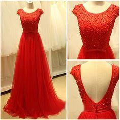 Cap sleeves prom dress,a-line princess prom dress,red prom dress,long prom dress,tulle prom dress,round neck prom dress,simple prom dress,elegant wowen dress,party dress,evening dress,dress for teens L613
