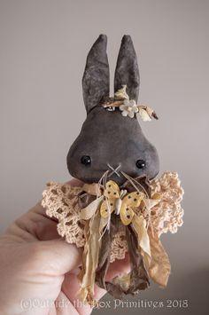PRIMITIVE DOLL~bunny rabbit, Hopper (c) easter, spring, pin, jewelry, ornament, original robin seeber