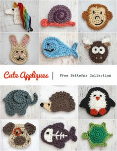 24 Marvelous Photo of Crochet Applique Patterns Free Animal . Crochet Applique Patterns Free Animal Cute Appliques Collection Rg Sslerobjeler Pinterest