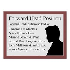 Forward Head Posture can lead to: Headaches, Neck & Back Pain, Muscle Weakness & Strain, Spinal Disc Degeneration