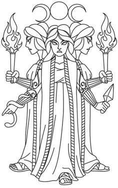 Greek Gods - Hecate | Urban Threads: Unique and Awesome Embroidery Designs Witch Coloring Pages, Adult Coloring Pages, Free Coloring, Coloring Books, Line Art, Urban Threads, Arte Obscura, Architecture Tattoo, Greek Gods