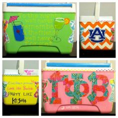 Painted cooler. Need to change it to ZTA and LSU, but love the chevron and letter print