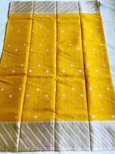 Mustard yellow with silver colour how to order and price pl Banaras Sarees, Silk Saree Kanchipuram, Handloom Saree, Bridal Silk Saree, Saree Wedding, Organza Saree, Yellow Saree, Green Saree, Indian Silk Sarees