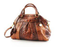 I love this bag. BRAHMIN LOUISE PECAN LES ROSES HANDBAG BAG PURSE SATCHEL EMBOSSED LEATHER