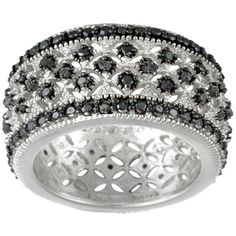 DB Designs Rhodium-plated 1/4ct TDW Diamond Eternity Band (I-J or black) (