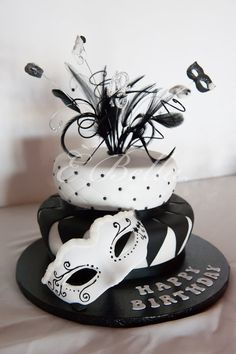 Black and White Masquerade Cake ~ After it was made it traveled 300 miles to the party and got there unscathed!