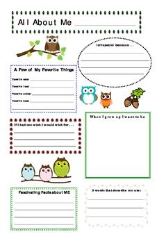 All About Me Theme for Toddlers | Owl Theme All About Me Poster (back to school)