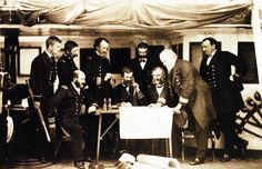 200-S-KWG-12: Korean Expedition, May-July 1871. Council of War on board USS Colorado before the attack on the Korean forts, June 1871.