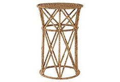 This jute-and-wire table makes a textured splash at a beachfront cottage or an urban apartment.