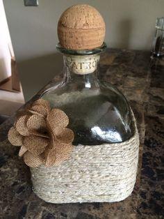 Hemp twine, patron bottle, burlap rose